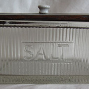 SOLD Vintage Glass Salt Box With Wooden Lid and Original Ceramic Knob