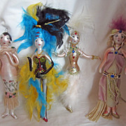 SOLD Four Vintage 1980s Flamboyant Flapper Showgirl Christmas Ornaments Gay Interest