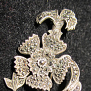 Vintage Silver and Marcasite Floral Art Deco Brooch Pin