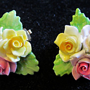 Vintage Staffordshire Porcelain China Floral Flower Rose Clip On Earrings