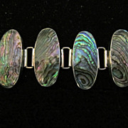 Vintage Sterling Silver Abalone Bracelet