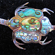Vintage Sterling Silver And Abalone Taxco Turtle Brooch Pin Signed NA