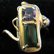 Vintage 1980s 14K Gold Chrome Tourmaline and Tanzanite Ring With Seashell