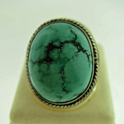Vintage Sterling Silver and Turquoise Dome Ring With Banded Rope Edge