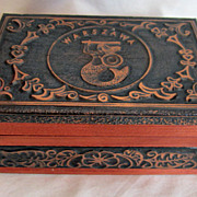 Handmade Vintage Wooden Box With Hammered Copper From Warszawa Poland