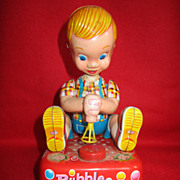 Vintage Yonezawa Tin Toy Bubble Blowing Boy Made In Japan