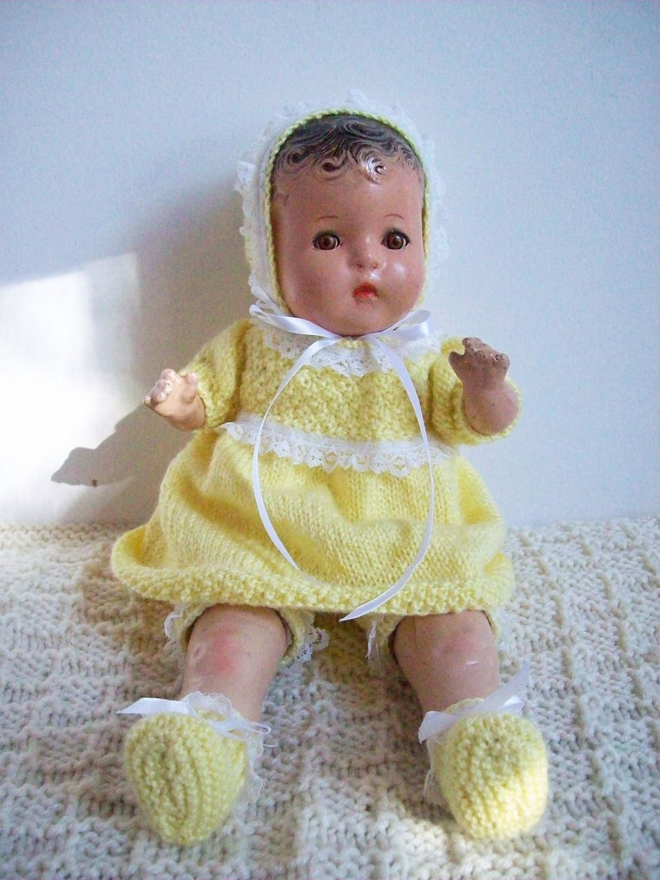 "Horsman baby girl doll, composition/cloth, 14"" long, 5 pc hand knit set in yellow"