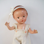 SOLD White sunsuit romper, fits Effanbee, Horsman, Arranbee and any 11� little girl doll