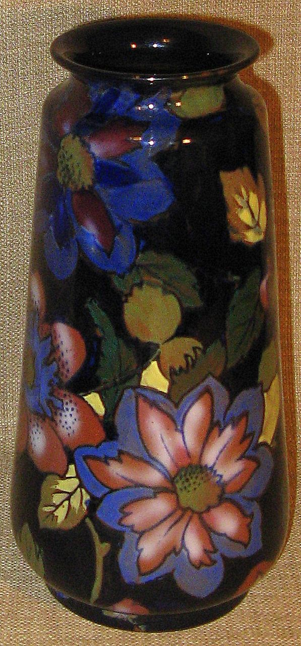 Stunning Royal Stanley Ware C & Co. Jacobean England Hand Painted Antique Art Nouveau Vase