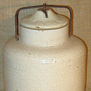 SALE Primitive Antique 1881 WEIR #4 Baletop Salt-Glazed Stoneware Canning Jar w/Lid