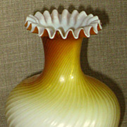 "SALE Stunning Antique 7 1/2"" Butterscotch Swirl Mother of Pearl Satin Glass Vase w/Crimpe"