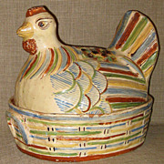 SALE OLD Hand Painted Redware Pottery Tlaquepaque, Mexico Covered Casserole Chicken