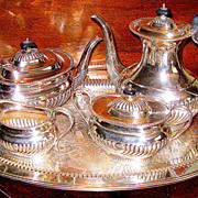 SALE Sheffield, England 5 Piece Edwardian Queen Anne Silverplate Coffee/Tea Service