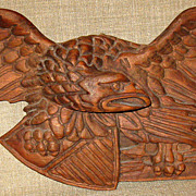 SALE Gorgeous Hand Carved Folk Art Americana Wood Eagle w/Shield & Arrows