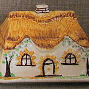 SALE Charming & Hard-To-Find Handpainted Staffordshire Cottage Ware Butter/Cheese Keeper