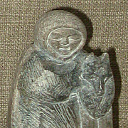 SALE Charming Small Inuit Soapstone Carving Eskimo w/Sled Dog