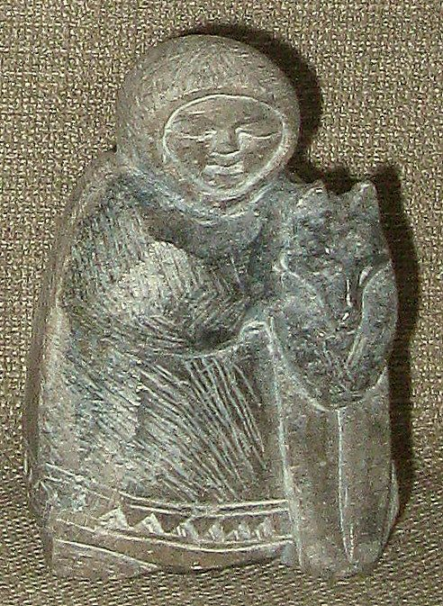 Charming Small Inuit Soapstone Carving Eskimo w/Sled Dog