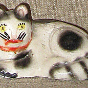 SALE Primitive Hand Painted Black & White Antique Chalkware Folk Art Cat Figurine