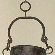 SALE Exquisite Antique Solid Copper Cooking Pot w/Wrought Iron Handle & Hanging Ring
