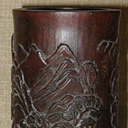 Magnificent  Hand-Carved Antique Chinese Bamboo Brush Pot w/Mountain Temples