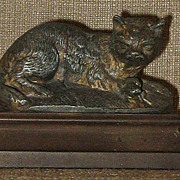 SALE Stunning Antique French Spelter Bronze Cat & Mouse Figurine on Composition  Base