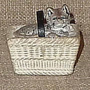 SALE Tiny & Adorable Chalkware Cat in a Basket�Has Whiskers & Leather Strap