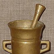 SALE Small Solid Antique Brass European Pharmacy Mortar & Pestle