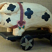 Primitive Old Hand Carved & Painted Folk Art Pig Toy on Wheels