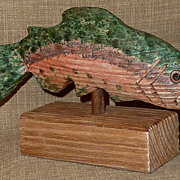 Signed Hand Carved & Hand Painted LANCE LONG Folk Art Wood Rainbow Trout