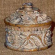 Small Older Chinese Carved Floral Design Inkwell w/Lid