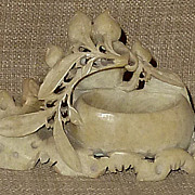 Old Petite Ornately Hand Carved Chinese Soapstone Ink Pot