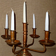 Hand Hammered Solid Copper Antique Arts & Crafts 5-Light Candelabra