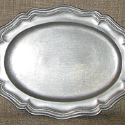 Small 1910s-1920s French Antique Hallmarked Solid Pewter Vanity Tray