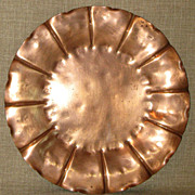 Extremely Rare Early Glander c.1925 Hand Hammered Copper Charger Plate