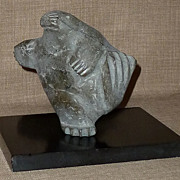 "Listed Artist PAUTA SAILA Lg. Hand Carved Stone Inuit ""Dancing Walrus"" Sculpture"