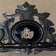 SOLD Antique Victorian Hand Carved Wood Towel Holder w/Oval of Classical Figures