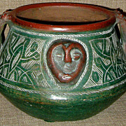 Incredible Handmade & Burnished/Etched Rare Signed Mexican Folk Art Face Pot