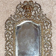 18th c French Rococo Gilt Bronze Mirror w/Beveled/Silvered Glass & Candleholders