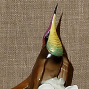 Exquisite Hand Painted & Numbered 1950s Hutschenreuther Porcelain Hummingbird Figurine