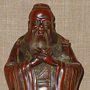 Magnificent Vintage Hand Carved & Lacquered Wood Confucius Figurine
