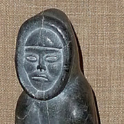 Lg. Hand Carved & Signed Stone Hunter w/Salmon Sculpture by Listed Inuit Artist Abraham Pov