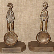 Antique Folk Art  Pair of Ashanti African Bronze Gold Dust Measuring Spoons w/Custom Bases