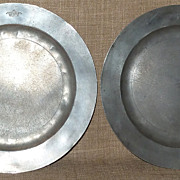 Antique Pair Early 1700s Solid Pewter Plates Hallmarked Christopher Banckes