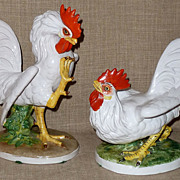 Pair Hand Painted 1930s Ugo Zaccagnini Majolica Art Pottery Fighting Cocks/Roosters Italy