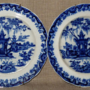 Rare Pair of 1850s Thomas Godwin Lintin Flow Blue Chinoiserie Plates