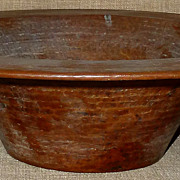 Exquisite Large Antique Hand-Hammered Arts & Crafts Era Copper Bowl w/Fantastic Patina!