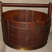 SOLD Primitive Antique Distressed Solid Oak Utility Bucket w/Metal Staves & Wood Handle