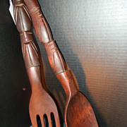 Wooden Fork and Spoon Oversize Wall Sculpture 1960s Kitchen Decor