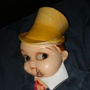 Vintage Chalk Ware String Holder Baby With Pipe and Yellow Top Hat