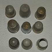 REDUCED Ten Vintage Thimbles, Some Appear to be Handmade and/or Silver